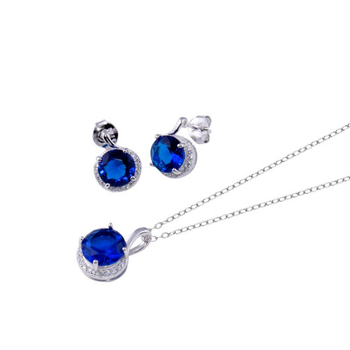 Wholesale Sterling Silver 925 Rhodium Plated Blue CZ Earring and Necklace Set - BGS00534BLU