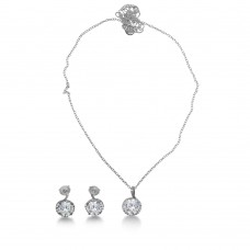 Wholesale Sterling Silver 925 Rhodium Plated Clear CZ Earring and Necklace Set - BGS00534CLR