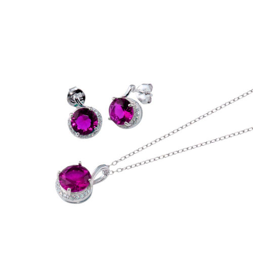 Wholesale Sterling Silver 925 Rhodium Plated Purple CZ Earring and Necklace Set - BGS00534PUR