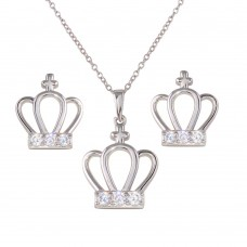 Wholesale Sterling Silver 925 Rhodium Plated Crown Earrings and Necklace Set with CZ - BGS00535