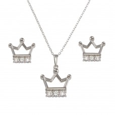 Wholesale Sterling Silver 925 Rhodium Plated Crown Necklace and Earrings Set with CZ - BGS00536