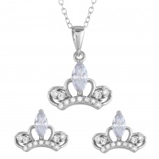 Sterling Silver Rhodium Plated Clear CZ Crown Earrings and Necklace Set - BGS00537