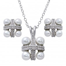 Sterling Silver Rhodium Plated Square Pendant Necklace and Earrings Set with Synthetic Pearls - BGS00538