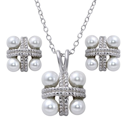 Wholesale Sterling Silver 925 Rhodium Plated Square Pendant Necklace and Earrings Set with Synthetic Pearls - BGS00538
