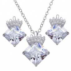 Sterling Silver Rhodium Plated CZ Stone with Crown Pendant Necklace and Earrings Set - BGS00539