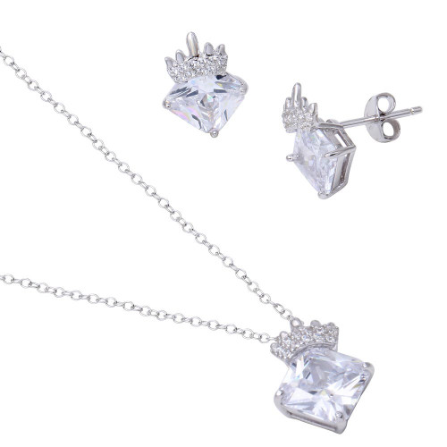 Wholesale Sterling Silver 925 Rhodium Plated CZ Stone with Crown Pendant Necklace and Earrings Set - BGS00539