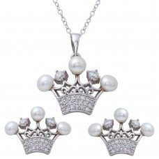Sterling Silver Rhodium Plated CZ Crown Pendant and Earrings Set with Synthetic Pearls - BGS00540