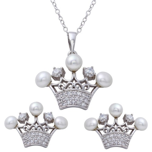 Wholesale Sterling Silver 925 Rhodium Plated CZ Crown Pendant and Earrings Set with Synthetic Pearls - BGS00540