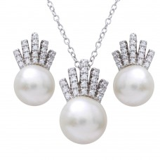 Sterling Silver Rhodium Plated Synthetic Pearl with CZ Crown Pendant Necklace and Earrings Set - BGS00541