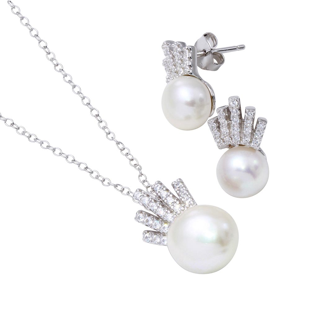 Wholesale Sterling Silver 925 Rhodium Plated Synthetic Pearl with CZ Crown Pendant Necklace and Earrings Set - BGS00541