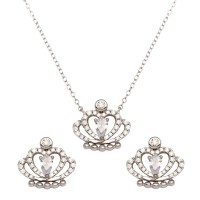 Wholesale Sterling Silver 925 Rhodium Plated Clear CZ Crown Necklace and Earrings - BGS00542CLR