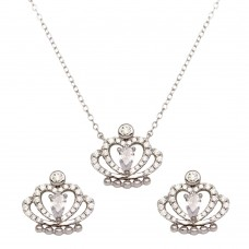 Sterling Silver Rhodium Plated Clear CZ Crown Necklace and Earrings - BGS00542CLR
