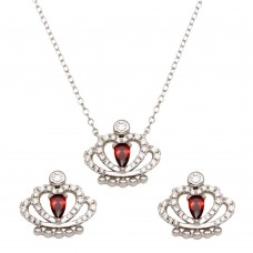 Sterling Silver Rhodium Plated Red CZ Crown Necklace and Earrings - BGS00542RED