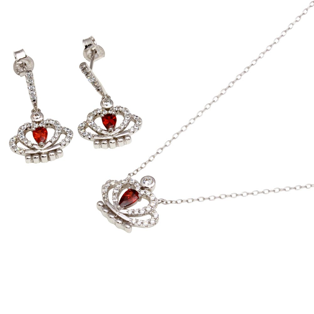 Wholesale Sterling Silver 925 Rhodium Plated Red CZ Crown Necklace and Earrings - BGS00542RED