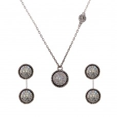 Wholesale Sterling Silver 925 Rhodium Plated Front and Back Earrings and Necklace Set with CZ - BGS00543