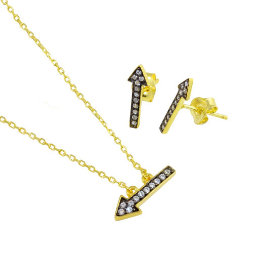 Wholesale Sterling Silver 925 Gold Plated CZ Arrow Earrings and Necklace set with CZ - BGS00544