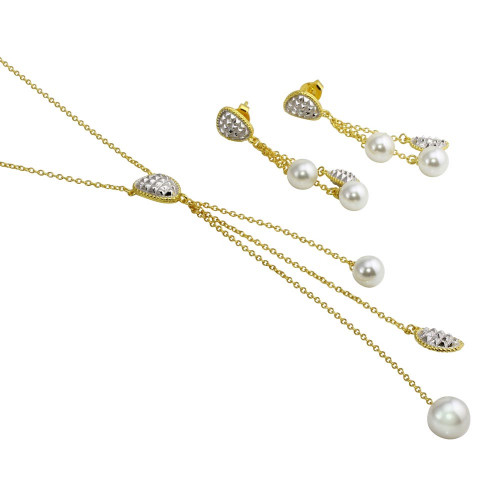 Wholesale Sterling Silver 925 2 Toned Gold Plated Drop 3 Stranded Synthetic Pearl Set - BGS00545