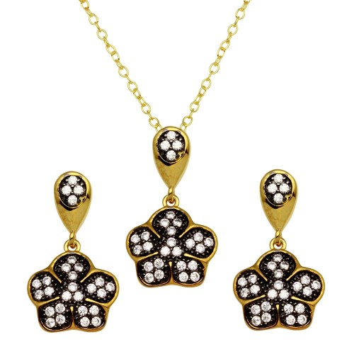 Wholesale Sterling Silver 925 Gold Plated Flower Necklace and Earrings Set with CZ - BGS00546