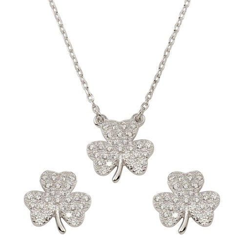 Wholesale Sterling Silver 925 Rhodium Plated 925 Clover Necklace and Earring Set with CZ - BGS00547CLR