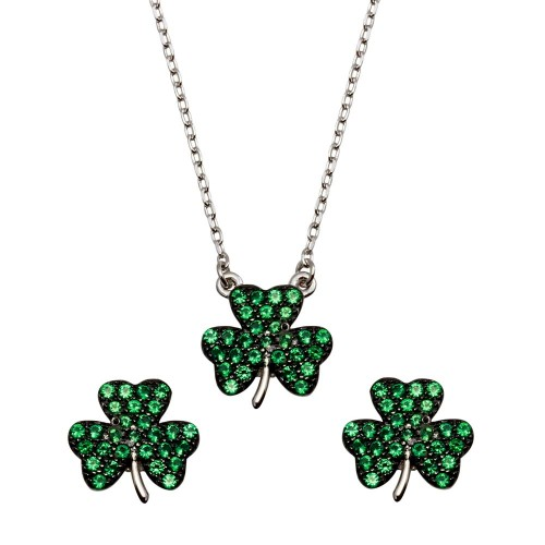 Wholesale Sterling Silver 925 Mini Green Clover Necklace and Earrings Set with CZ - BGS00547GRN