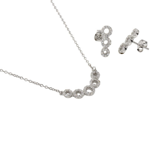 Wholesale Sterling Silver 925 5 Circle Pendant Earrings and Necklace with CZ - BGS00548