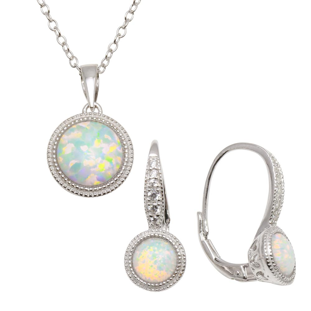 Whole Sterling Silver 925 Rhodium Plated Synthetic Opal Earrings And Necklace Set With Cz Bgs00549