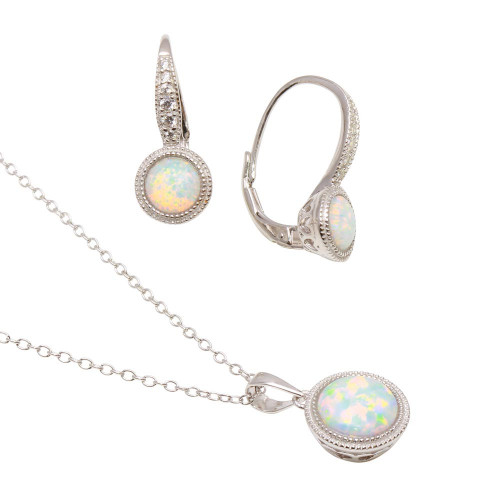 Wholesale Sterling Silver 925 Rhodium Plated Synthetic Opal Set with CZ - BGS00549