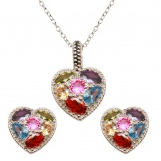 Wholesale Sterling Silver 925 Rhodium Plated Multi-colored CZ Heart Pendant Necklace and Earrings Set - BGS00551