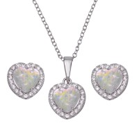 Wholesale Sterling Silver 925 Rhodium Plated Halo Heart Set with Synthetic Opal and CZ - BGS00552