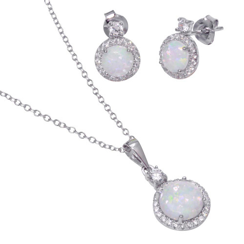 Wholesale Sterling Silver 925 Round Synthetic Opal Set - BGS00553