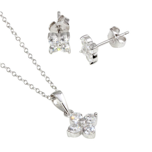 Wholesale Sterling Silver 925 Rhodium Plated CZ Flower Pendant Necklace and Stud Earrings Set - BGS00554