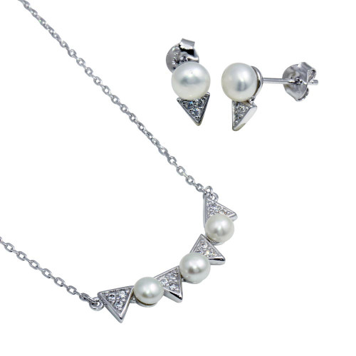 Wholesale Sterling Silver 925 Rhodium Plated Triangle and Synthetic Pearl Pendant Necklace and Stud Earrings Set - BGS00555