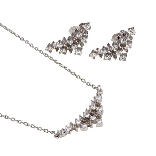 Wholesale Sterling Silver 925 Rhodium Plated Curved Triangle Pendant Necklace and Stud Earrings Set with CZ - BGS00556
