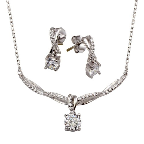 Wholesale Sterling Silver 925 Rhodium Plated Wavy Curved Necklace with Dangling CZ Pendant - BGS00557