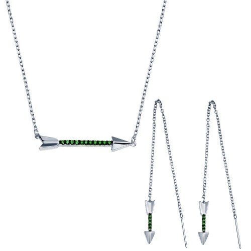 Wholesale Sterling Silver 925 Rhodium Plated Green Arrow Necklace and Dangling Earrings CZ Set - BGS00558GRN