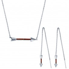 Wholesale Sterling Silver 925 Rhodium Plated Arrow Pendant Necklace and Dangling Earrings Set with Red CZ - BGS00558RED