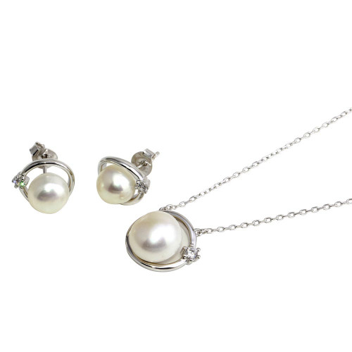 Wholesale Sterling Silver 925 Round Synthetic Pearl with CZ Set - BGS00559