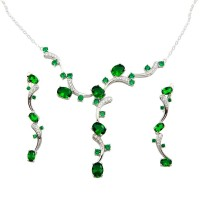 Wholesale Sterling Silver 925 Rhodium Plated Green CZ Necklace and Dangling Earring Set - BGS00560