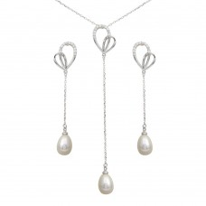 Wholesale Sterling Silver 925 Rhodium Plated CZ Open Heart with Fresh Water Pearl Dangling Set - BGS00562