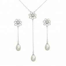 Wholesale Sterling Silver 925 Rhodium Plated CZ Open Flower with Fresh Water Pearl Dangling Set - BGS00563