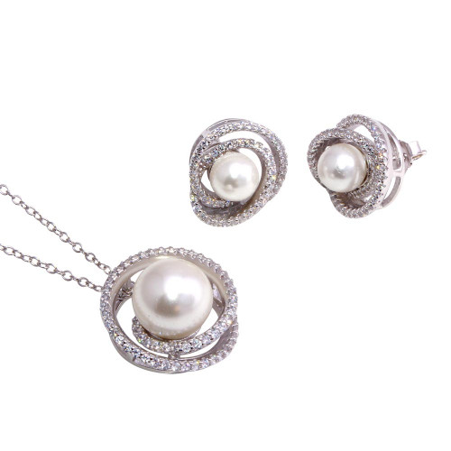Wholesale Sterling Silver 925 Rhodium Plated Spiral CZ With Synthetic Center Pearl Set - BGS00564
