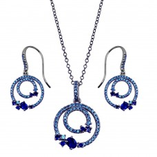 Wholesale Sterling Silver 925 Rhodium Plated Double Circle Earrings and Necklace Set with Blue CZ - BGS00565BLU