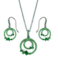 Wholesale Sterling Silver 925 Rhodium Plated Double Circle Earrings and Necklace Set with Green CZ - BGS00565GRN