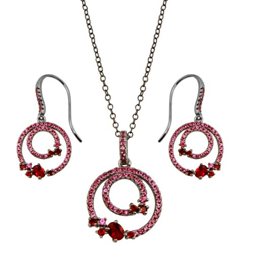 Wholesale Sterling Silver 925 Rhodium Plated Double Circle Earrings and Necklace Set with Red CZ - BGS00565RED