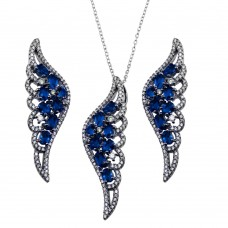 Wholesale Sterling Silver 925 Black Rhodium Plated Wing Pendant and Earrings Set with Blue CZ - BGS00566BLU