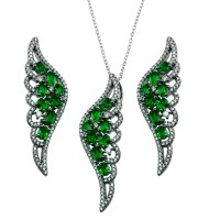 Wholesale Sterling Silver 925 Black Rhodium Plated Wing Pendant and Earrings Set with Green CZ - BGS00566GRN