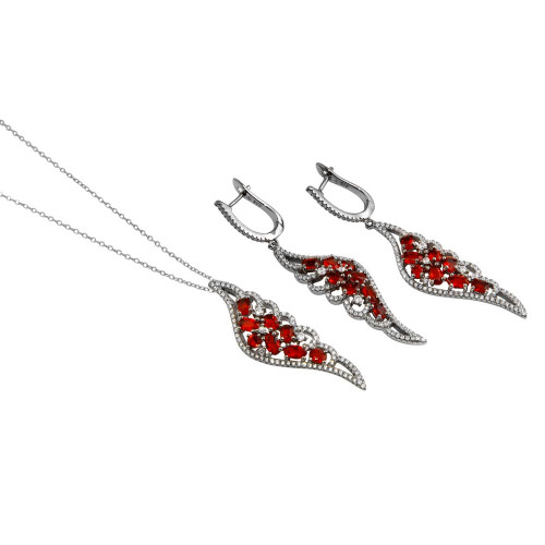 Wholesale Sterling Silver 925 Black Rhodium Plated Wing Pendant and Earrings Set with Red CZ - BGS00566RED