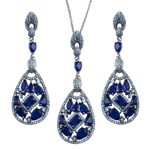 Wholesale Sterling Silver 925 Rhodium Plated Dangling Teardrop Necklace and Earrings Set with Blue CZ - BGS00567BLU