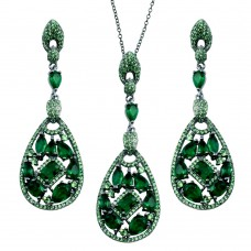 Wholesale Sterling Silver 925 Rhodium Plated Dangling Teardrop Necklace and Earrings Set with Green CZ - BGS00567GRN