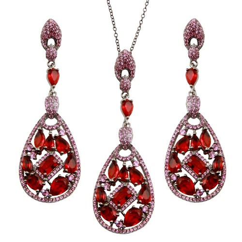 Wholesale Sterling Silver 925 Rhodium Plated Dangling Teardrop Necklace and Earrings Set with Red CZ - BGS00567RED